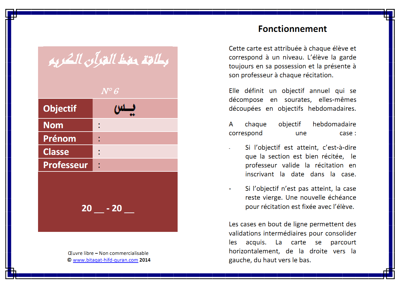 Carte n°6 sourate recto
